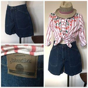 Vintage denim high waist cuffed shorts